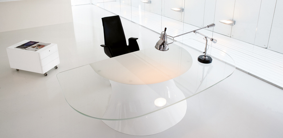 ola desk italian design - Designer Glass Desk