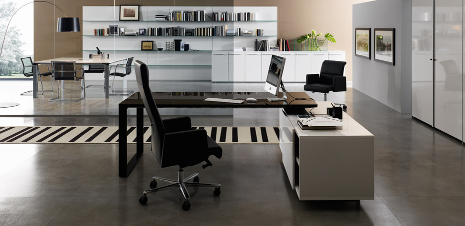 Planeta Italian Executive Desk by DVO, L shape office desk