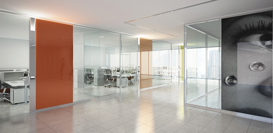 Esedra glass office demountable partitioning system by