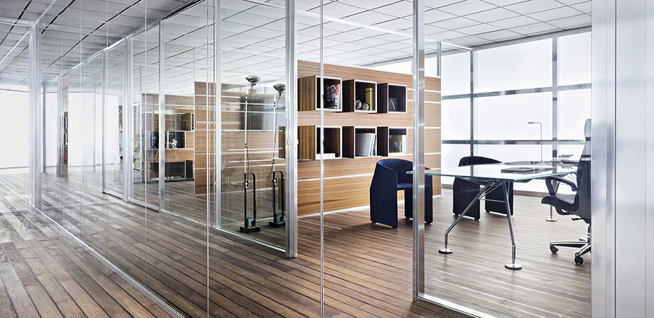 W80 Glass Partition Wall System Tecno Italy