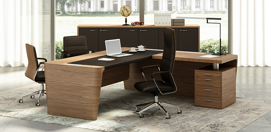 Wood And Leather Office Desk X10 By Officity Quadrifoglio